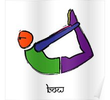 Painting of bow yoga pose with Sanskrit text. Poster