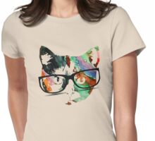 Hipster calico kitty cat Womens Fitted T-Shirt