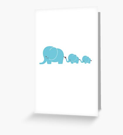 Elephant family following each other Greeting Card