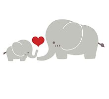 Baby and parent elephant with heart by berlinrob