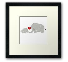 Baby and parent elephant with heart Framed Print