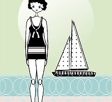 Sailboat Day 1920s Gatsby Flapper Girl  by CecelyBloom