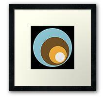Retro Circles Black Blue Brown Orange White Framed Print