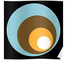 Retro Circles Black Blue Brown Orange White Poster