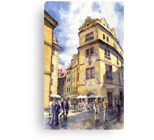 Prague Karlova Street Hotel U Zlate Studny Canvas Print
