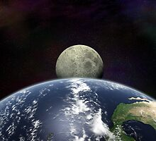Moon Rise From Space by Packrat