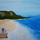 robot pulling eye on beach by steve-fusion