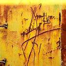 Abstract in Yellow - Train texture, Perris CA by Larry Costales