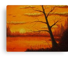 Sunset over the lake. Canvas Print