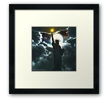Statue of Liberty with American Flag Framed Print