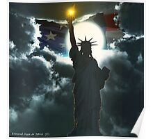 Statue of Liberty with American Flag Poster