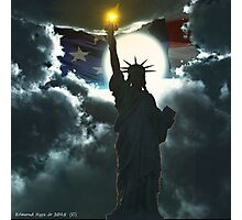 Statue of Liberty with American Flag Photographic Print