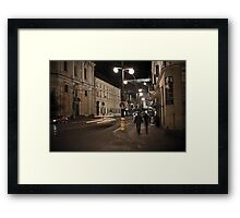 Prague Street at Night Framed Print
