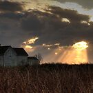 Sunset behind abandoned house by Debbie  Roberts