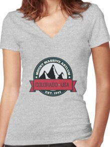 Outlast - Mount Massive Asylum Crest Women's Fitted V-Neck T-Shirt