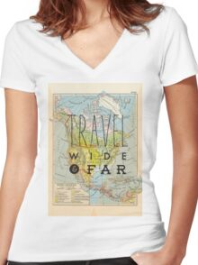 Travel Wide & Far - North America Women's Fitted V-Neck T-Shirt