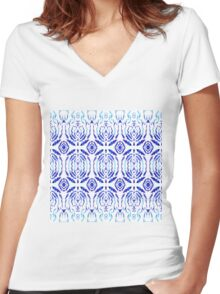 Whimsical Geometry In Blue  Women's Fitted V-Neck T-Shirt