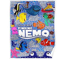 Finding Nemo Character Collage Drawing Poster