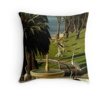 Fountain,Eastern Beach Throw Pillow