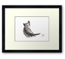 Innocent wonder sumi-e painting Framed Print
