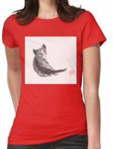 Innocent wonder sumi-e painting Womens Fitted T-Shirt