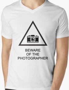 Beware of the Photographer Mens V-Neck T-Shirt