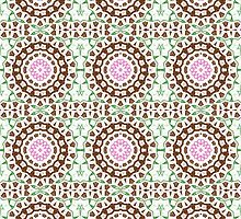 Brown, Pink and Green Abstract Design Pattern by Mercury McCutcheon