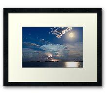 Lake Lightning Thunderstorm Striking and Full Moon   Framed Print