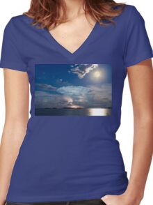 Lake Lightning Thunderstorm Striking and Full Moon   Women's Fitted V-Neck T-Shirt