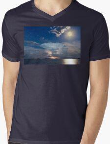 Lake Lightning Thunderstorm Striking and Full Moon   Mens V-Neck T-Shirt