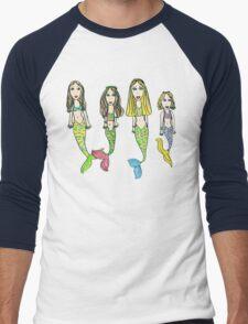Tane's Drawing of My Girls as Mermaids Men's Baseball ¾ T-Shirt