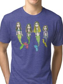 Tane's Drawing of My Girls as Mermaids Tri-blend T-Shirt