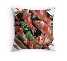 Cyprinus carpio carpio ; Japanese Koi. Throw Pillow