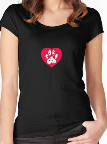 Dalmatian Paw Print In Red Heart Women's Fitted Scoop T-Shirt