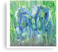Horses- Green and Blue Canvas Print