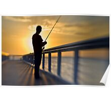 Early Morning Angler Poster