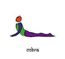 Painting of cobra yoga pose with Sanskrit text. by Mindful-Designs