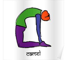 Painting of camel yoga pose with Sanskrit text. Poster