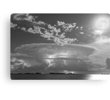 Full Moon Lightning Storm in Black and White Canvas Print