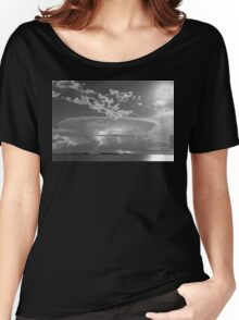 Full Moon Lightning Storm in Black and White Women's Relaxed Fit T-Shirt