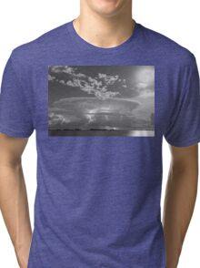 Full Moon Lightning Storm in Black and White Tri-blend T-Shirt