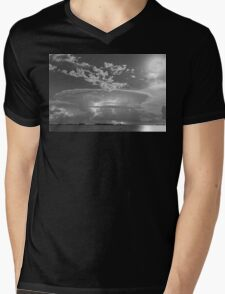 Full Moon Lightning Storm in Black and White Mens V-Neck T-Shirt