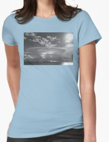 Full Moon Lightning Storm in Black and White Womens Fitted T-Shirt