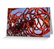 Twisted metal sculpture in red Greeting Card