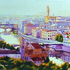 2009 Sunset in Firenze (Watercolor) by BuaS
