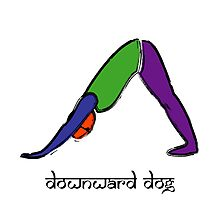 Painting of downward dog yoga pose Sanskrit text. Photographic Print