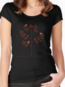 birds on tree Women's Fitted Scoop T-Shirt