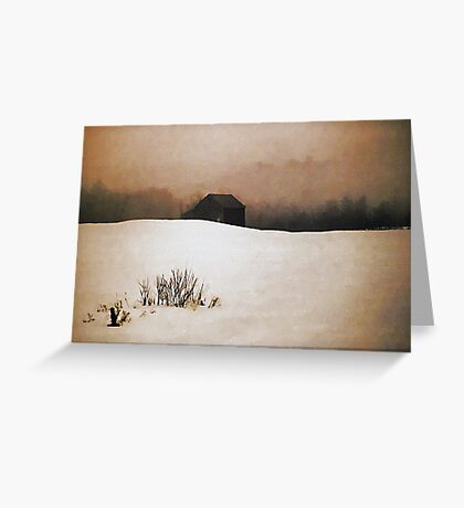 Barn with Snow and Fog Greeting Card