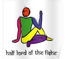 Half lord of the fishes yoga pose Sanskrit Poster