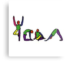 Painting of yoga poses spelling YOGA. Metal Print